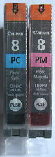 Canon Genuine CLI-8PC & CLI-8PM Ink Cartridges. New & Sealed