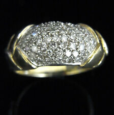 Diamond 14k Yellow Gold Ring Wide Band Cluster Pick a boo Diamonds Estate