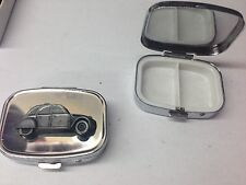 Citroen 2CV ref37 pewter effect car emblem on silver metal pill box