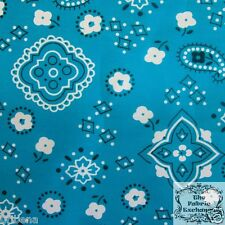 Blue Bandana Fabric Turquoise Print Fabric Poly Cotton Fabric 60 Wide Fabric BTY