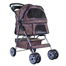 Leopard Skin bestpet 4 Wheels Pet Dog Cat Stroller w/RainCover
