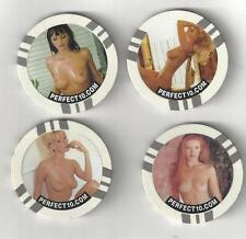 4 NUDE SEXY BUSTY WOMAN LADY POKER CHIPS TOKENS COINS PERFECT 10 MAGAZINE LOT 4