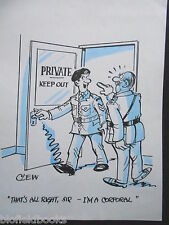 "CLIFFORD C LEWIS ""CLEW"" Original Pen & Ink Cartoon - Private Keep Out/Army #358"