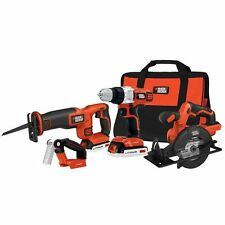 Black & Decker 20-Volt MAX Lithium Ion 4 Tool Combo Kit Home Work Repair Shop LI