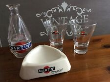 Set of Vintage French Martini Breweriana, carafe, ashtray 2 x glasses Retro Bar