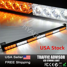 "31"" 28 LED Car Emergency Warning Flash Strobe Light Bar Amber Yellow & White US"