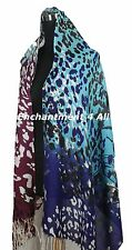 Large Stunning 2-Ply 100% Cashmere Pashmina LEOPARD Shawl Wrap Blue/Purple/Black