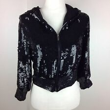Betsey Johnson Black Silk Sequin Zip Up Hooded Jacket Size 0/S RARE