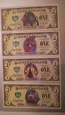 2013 D Disney Dollar 4 note set Villains With Error Cruella 4 Way 4 Digit Match