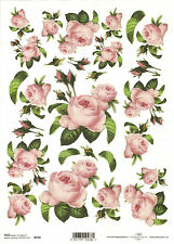 Rice Paper for Decoupage, Scrapbooking, Pink Roses , A4 size ITD R038