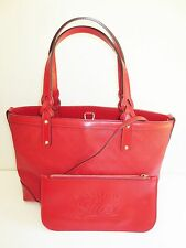 Auth Gucci Diamante Red Tote Handbag GG Canvas Leather Purse w/ make up pouch