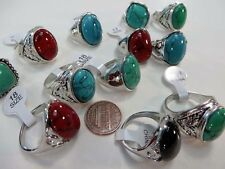 US SELLER-lot of 24 mixed color gemstone fashion rings in antique vintage style