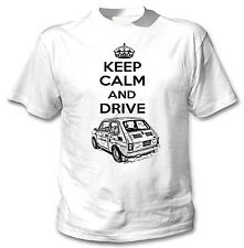 MALUCH POLISH FIAT 126 P KEEP CALM AND DRIVE 1P - WHITE COTTON TSHIRT