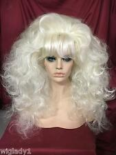 PLATINUM BLONDE LONG WAVY SULTRY BANGS GYPSY BIG HAIR VOLUME 4 A NATURAL BEAUTY!