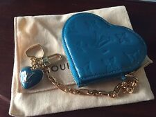 NEW Louis Vuitton Vernis Turquoise Heart Coin Purse