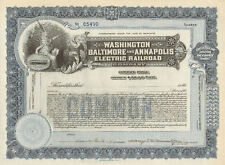 Washington Baltimore & Annapolis Electric Railroad Maryland stock certificate
