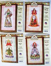 LOT 4 JIM SHORE SEASONS ANGELS:SPR.;SUMMER;FALL;WINTER COUNTED CROSS STITCH KITS