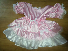 "ADULT BABY SISSY PINK SATIN DRESS 40"" PRETTY FRILLY LACE TRIM  WHITE DOUBLE HEM"