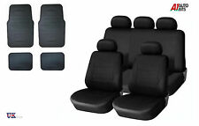 BLACK CAR SEAT COVERS & RUBBER CAR MATS SET FOR SKODA FABIA OCTAVIA SUPERB YETI