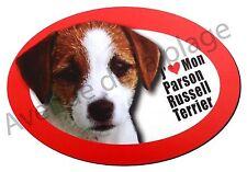 """Magnet chien """"J'aime mon Parson Russel Terrier"""" frigo/voiture idée cadeau NEUF"""