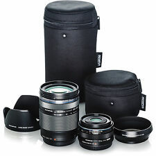Olympus Travel Lens Kit Bundle (14-150mm f4.0-5.6 II, 17mm f1.8, Hoods & Cases)