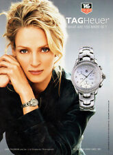 2005 magazine advertisement for TAGHeuer Watches, w/ Uma Thurman 040114