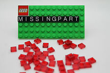 100 x LEGO Trans Red Tile 1 X 1