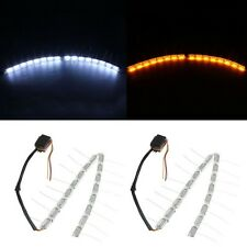 2x White/Amber LED Flexible Headlight Strip Light Tear Eye Turn Switchback Lamp