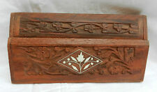 Hand Carved and Inlaid Indian Wooden Stamp Box - BNWT