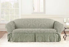 Sofa Sure Fit sage green Matelasse Damask One Piece Slipcovers