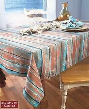 Nautical Coastal Distressed Blue Real Wood Look Tablecloth Rectangle 60 X 84 New