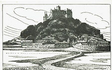CORNISH POST CARD ART CARD BY JUSTIN BLAKE OF ST. MICHAELS MOUNT