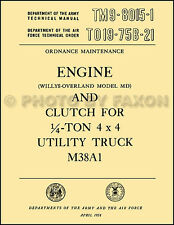 1952-1958 Jeep M38A1 Engine and Clutch Manual TM 980151 Overhaul and Rebuild