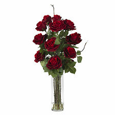 NEW RED ROSES VASE FAUX ARTIFICIAL SILK FLOWERS FLORAL BOUQUET NEARLY NATURAL
