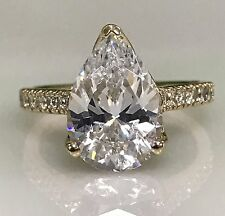 4.50 ctw. Russian Cut Pear Simulated Diamond with Round Accents Engagement #4994