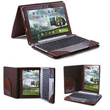 Brown Leather Keyboard Pouch Folio Stand Case Cover for ASUS Transformer TF300