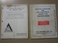 Allis Chamlers D40 D 40 tractor dozer blade owners & maintenance & parts manual