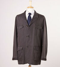 NWT $995 CANALI Dark Brown Cotton Multi-Pocket Field Coat 52/L Outer Jacket