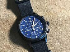 Timex Scout Blue Black Chronograph Leather Mens Watch