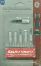 "GE Headphone Adapter Kit Splitter 6' Extension 3.5mm to 1/4"" White"