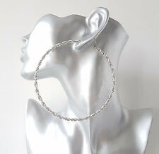 "NEW IN! Gorgeous HUGE SILVER tone twisted sparkly big hoop earrings, 4"" - 10cm"