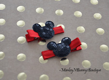 1 Pair Boutique Sequin MICKEY MOUSE Baby Toddler Hair Clips
