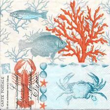 3 Servietten Napkins Maritim & Meer Fische Koralle Krebse #351