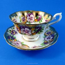 Royal Albert Purple and Yellow Pansy Heavy Gold Tea Cup and Saucer Set