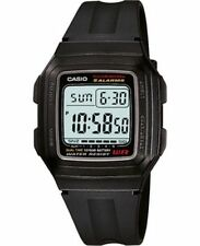 Casio F201WA-1A, Digital Watch, Black Resin Band, 5 Alarms, 10 Year Battery