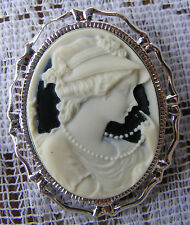 Lady With Pearls Retro 3D Cameo Pin Brooch Pendant Original Design Ivory Black