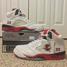 NEW AIR JORDAN 5 RETRO sz 9.5 2007 WHITE FIRE RED V III NIKE AIR CDP BRED XI XII