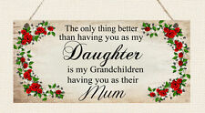 Personalised Plaque Mum Nanny Sister Auntie Daughter in Law Nanna Nan Wife Gift
