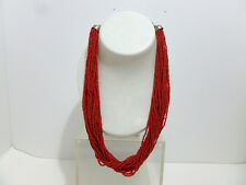 NECKLACE VINTAGE CO & CO INDIA RED CORAL 28 STRAND 3 MM BEAD NECKLACE 5291