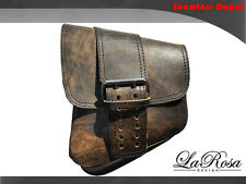 La Rosa Rustic Brown Leather Big Strap Harley Softail Chopper Left Saddle Bag